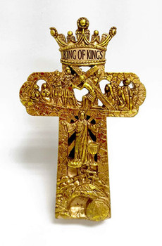 Tabletop Cross(TCR182) Crown Him with many crowns, King of Kings with back LED light. Batteries included)