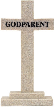 Tabletop Cross(TCR177) Godparent - So Very Grateful Textured Stone Resin 5 x 2""