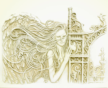 "3 dimensional Wall Plaque - Gate of Healing Angel  #8423 (10"" x 8"") Wall Art by Barbara McDonald"