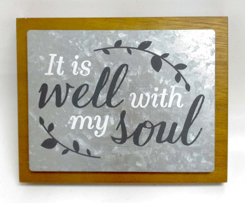 Wall Decor - It is Well with My Soul, Wood and Metal, keyhole for hanging. 19.68 X 1.57 X 17.14(cm)
