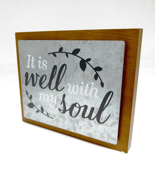 Wall Decor - It is Well with My Soul, Wood and Metal, Kkyhole for hanging. 19.68 X 1.57 X 17.14(cm)