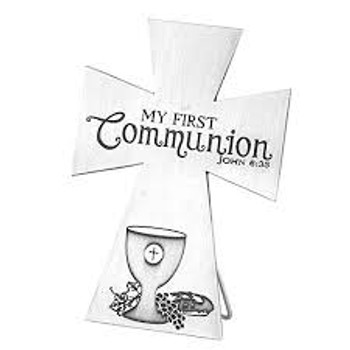 """Metal Table Top Cross - My First Communion Chalet and Bread - John 6:35  (5.5"""" x 4"""")"""