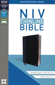 NIV Thinline Bible Black/Gray Leathersoft, 9pt Red Letter