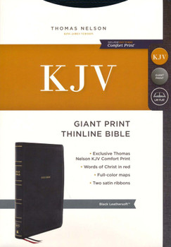 KJV Giant Print Thinline Bible, BLACK Leathersoft, Large 12pt with Red Letter.