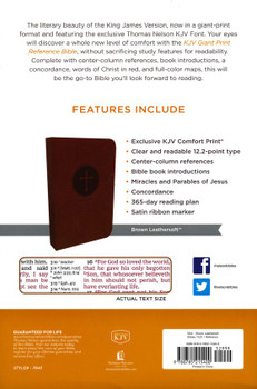 KJV Giant Print Cenre-Column Reference Bible, BROWN Leathersoft. 12pt with Red Letter.