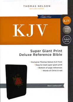 KJV Super Giant Print Deluxe Reference Bible, Floral motif Black Leathersoft. 16pt with Red Letter.