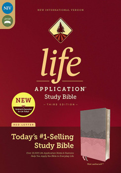 NIV Life Application Study Bible (Third Edition), GRAY/PINK Leathersoft, 8.5pt type Red Letter