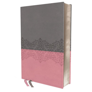 NIV Life Application Study Bible (3rd Edition) - GRAY/PINK Leathersoft, 8.5pt/Red Letter