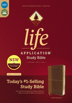 NIV Life Application Study Bible (Third Edition), BROWN Leathersoft, 8.5pt type Red Letter