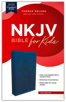 NKJV Holy Bible For Kids (Ages 6-10) - BLUE Leathersoft 9.5pt type with reading plans