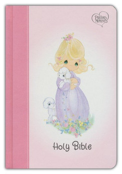 NKJV Precious Moments Small Hands Bible(Ages 4 & above) - PINK Hardcover, with one-year reading plan, 7pt type