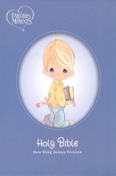 NKJV Precious Moments Small Hands Bible(Ages 4 & above) - BLUE Hardcover, with one-year reading plan, 7pt type