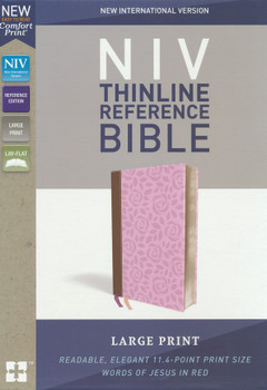 NIV Thinline Large Print Reference Bible - PINK/BROWN Leathersoft 11.4pt with Red Letter