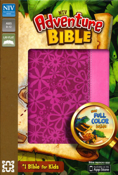 NIV Adventure Bible (Full Color) Ages 8-12 - Raspberry/Pink Duo-Tone Leathersoft, 8pt Type. #1 Bible for Kids