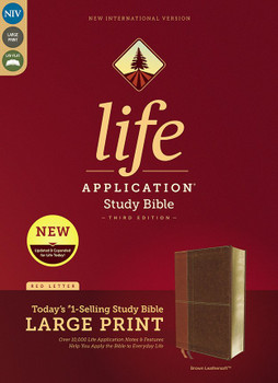 NIV Life Application LARGE PRINT Study Bible (3rd Edition) - BROWN Leathersoft, 11pt/Red Letter. Over 10'000 Application Notes & Features. Help you apply the Bible to Everyday Life.