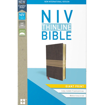 NIV Thinline Bible GIANT PRINT - CHOCOLATE/TAN Leathersoft, 13pt with Red Letter