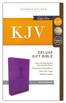 KJV Deluxe Gift Bible - PURPLE Leathersoft, 8pt type with Red letter