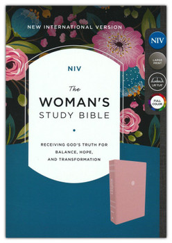 NIV The Woman's Study Bible Full color/Large Print 10.5pt Type with Red Letter. PINK Cloth over board - Receiving God's Truth For Balance, Hope, and Transformation.