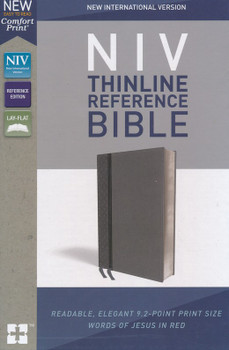 NIV Thinline Reference Bible, CHARCOAL Leathersoft, Centre-column cross reference, 9pt type with Red Letter