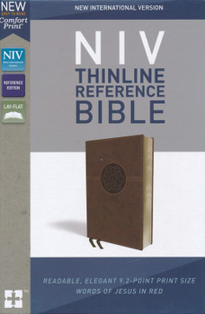 NIV Thinline Reference Bible, BROWN Leathersoft, Centre-column cross reference, 9pt type with Red Letter