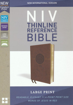 NIV Thinline Reference Bible Large Print, BROWN Leathersoft. Centre-column cross reference, 11.4pt with Red Letter