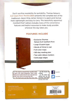 KJV GIANT PRINT THINLINE Bible, BROWN Leathersoft, 12pt type, Red Letter.