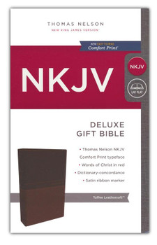 NKJV Deluxe Gift Bible, TOFFEE Leathersoft 7.5pt Red Letter