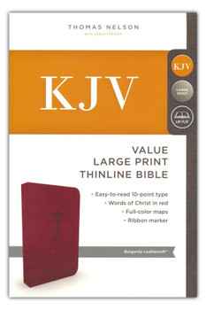 KJV Value Thinline Large Print Bible, BURGUNDY Leathersoft, 11.5pt type with Red Letter