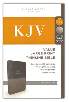 KJV Value Thinline Large Print Bible, CHARCOAL Leathersoft, 11.5pt type with Red Letter