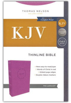 KJV Thinline Bible, PINK Leathersoft, 9pt type with Red Letter.
