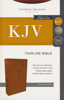 KJV Thinline Bible, BROWN Leathersoft, 9pt type with Red Letter