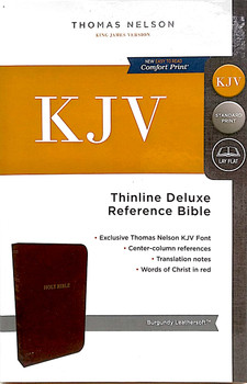 KJV Thinline Deluxe Reference Bible, BURGUNDY Leathersoft, 8.9pt with Red Letter