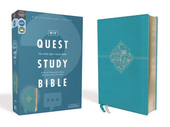 NIV Quest Study Bible - with over 7'000 insightful notes arranged in a unique Q&A format. TURQUOISE Leathersoft, 9.5pt Type.