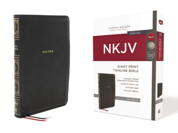 NKJV Giant Print Thinline Bible, BLACK Leathersoft, 12 pt type with Red Letter