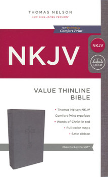 NKJV Value Thinline Bible, CHARCOAL Leathersoft, 9pt Red Letter