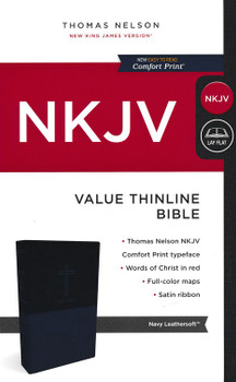 NKJV Value Thinline Bible, NAVY Leathersoft, 9pt Red Letter