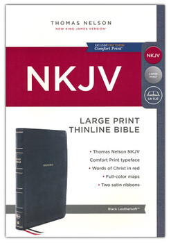 NKJV Large Print Thinline, BLACK Leathersoft, 10.5pt Red Letter