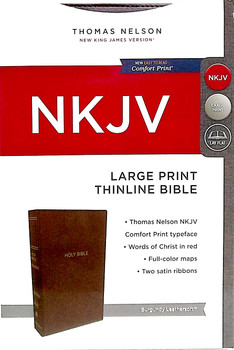 NKJV Large Print Thinline Bible, BURGUNDY Leathersoft 10.5pt
