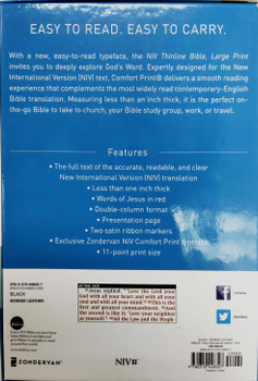 NIV Thinline Large Print Bible. Black Bonded Leather 11pt with Red Letter.