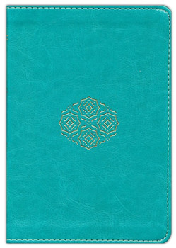 ESV Large Print Compact Bible, Teal with Bouquet Design, TruTone Leathersoft, 8pt Type with Red Letter.