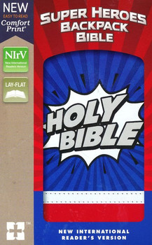 NIrV Super Heroes Backpack Bible, Blue-Red Leathersoft(Ages 6-10)