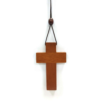 Wooden Cross(Necklace) in Mahogany solid wood with drawstring rope - 7.7 x 4.7 x 0.5(cm)
