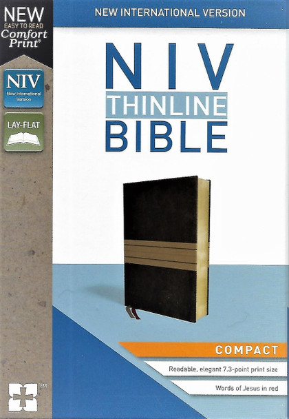 NIV Thinline, Compact size. New Comfort Print. Words of Christ in red. Chocolate/Tan Leathersoft cover.
