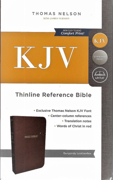 KJV Thinline Reference Bible. Burgundy Leatherflex. Words of Christ in Red.