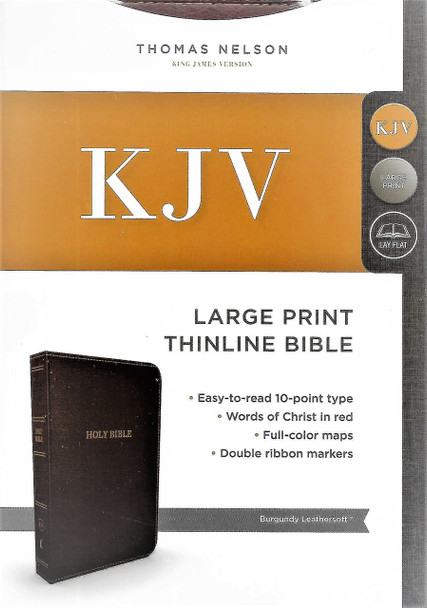 KJV Large Print Thinline Bible, BURGUNDY Leathersoft. Words of Christ in Red.