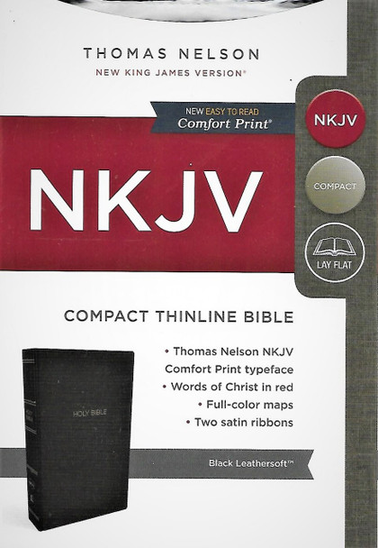 NKJV Compact Thinline Bible. Easy to Read Comfort Print. Black Leathersoft.