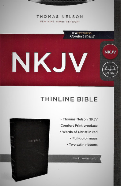 NKJV Thinline Bible. Easy to Read Comfort Print. Black Leathersoft