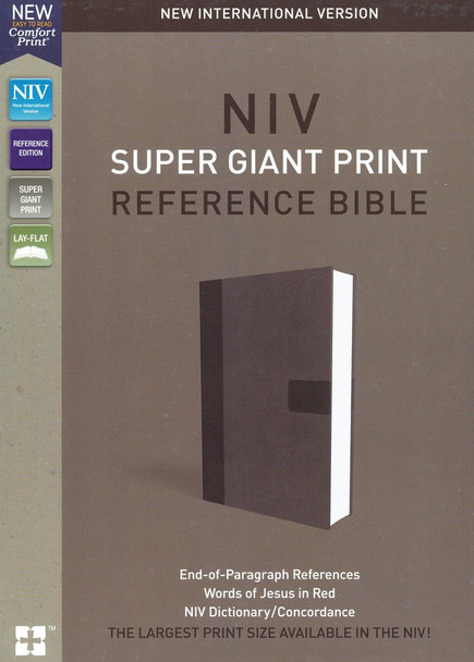 NIV Super Giant Print Reference Bible, Imitation Leather, Gray  by Zondervan