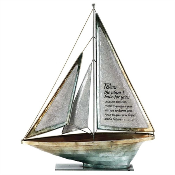 Metal Tabletop Sailboat : For I Know the Plans.. Jeremiah 29:11