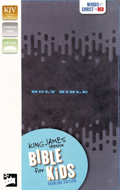 KJV Thinline Bible For Kids-Charcoal Leathersoft